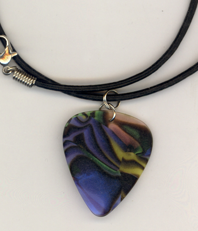 Stained Glass Guitar Pick Leather Necklace