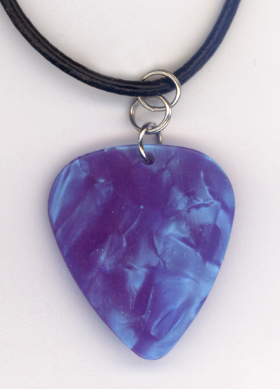 Aqua Pearl Guitar Pick Leather Necklace