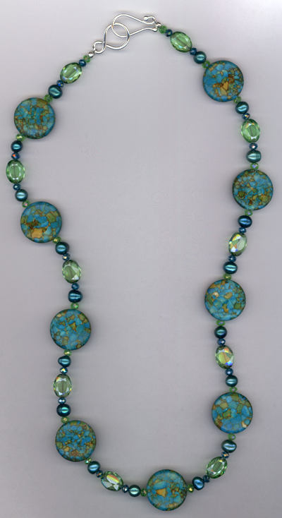 Green Blue Turquoise Crystal Necklace