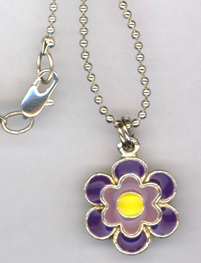 Don't Eat The Daisies ~ Purple Flower Charm Necklace