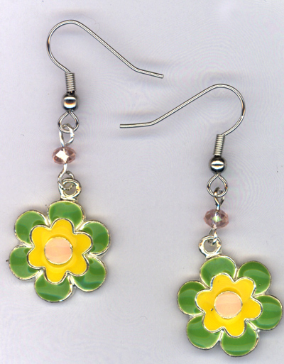 Don't Eat The Daisies ~ Lime/Honeysuckle Pink/Yellow Charm Earrings