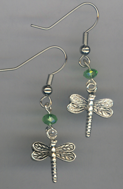 Whimsy Girl Peridot Green ~ Dragonfly Charm Beaded Necklace
