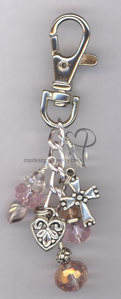 whimsy Girl pink crystal purse charm