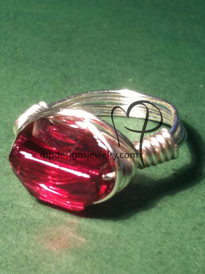 Ruby Swarovski Crystal Silver Wire-wrapped Ring