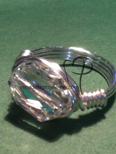 Swarovski AB Crystal Wire-wrapped Silver Ring