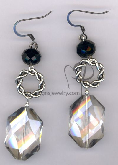 Big, Bold, and Beautiful - Crystal Black Silver Earrings