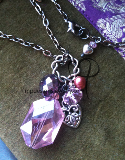 Big, Bold, and Beautiful - Pink Crystal Pealr Heart Charm Necklace