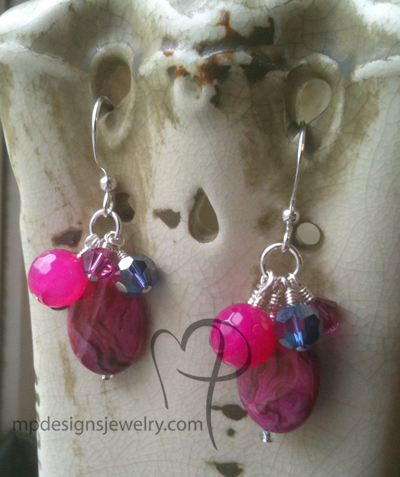 Cabernet ~ Pink Purple Gemstone Crystal Pearl Cluster Earrings