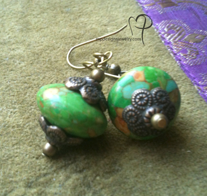 Isabelle ~ Mosaic Green Turquoise Brass Beaded Earrings
