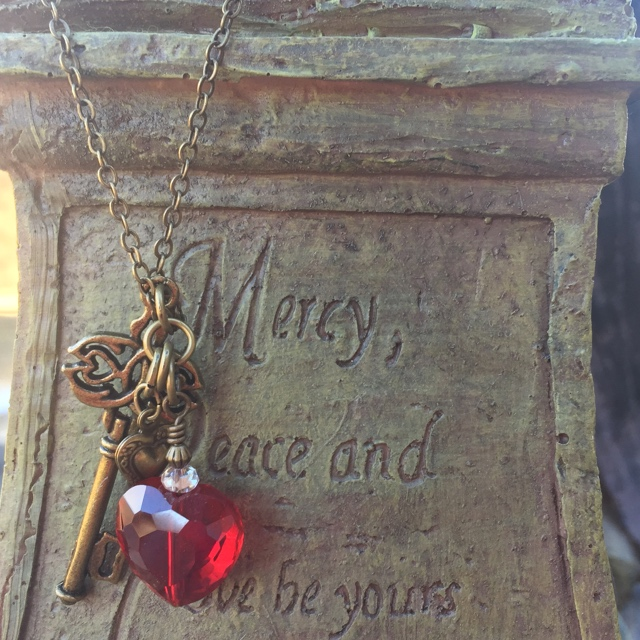 Love is the key red heat gold brass necklace