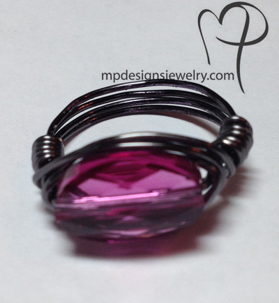 Fuchsia Swarovski Crystal Wire Wrapped Ring