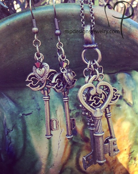 Key to My Heart ~ Charm Necklace/ Earring Set