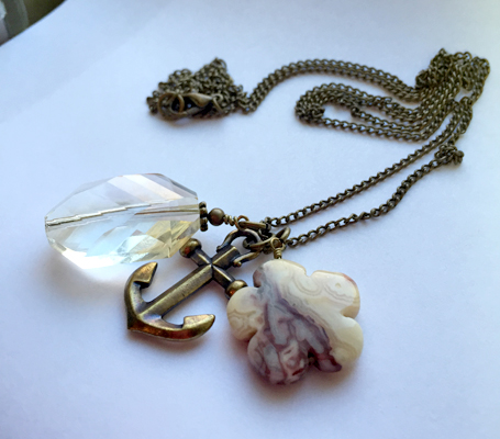 crystal brass anchor mookaite charm necklace