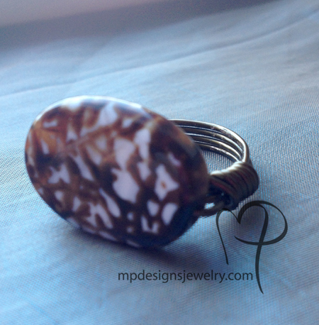 Cappuccino Agate Wire-Wrapped Ring