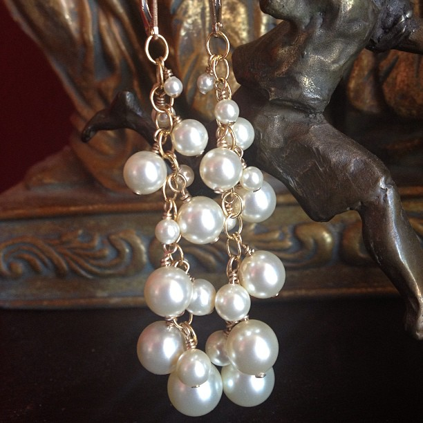 Cascading Swarovski Pearls Gold Earrings