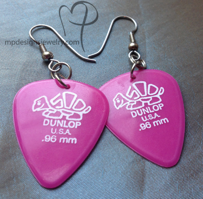 Dunlop Pink Guitar Pick Earrings