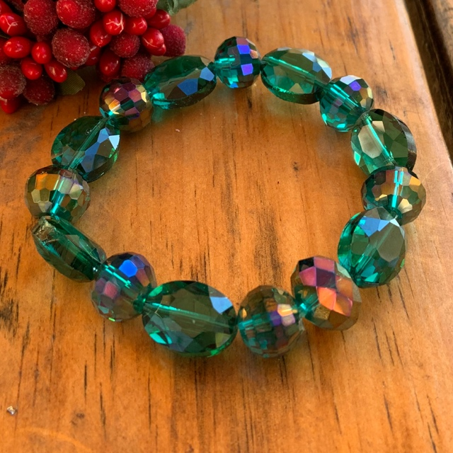 Emerald Green Quartz Crystal Statement Bracelet
