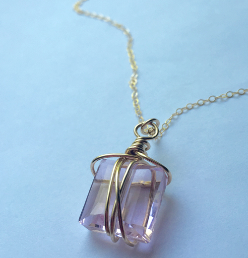 Rosaline Swarovski Crystal Organic Gold-filled Wire Wrap Pendant Necklace