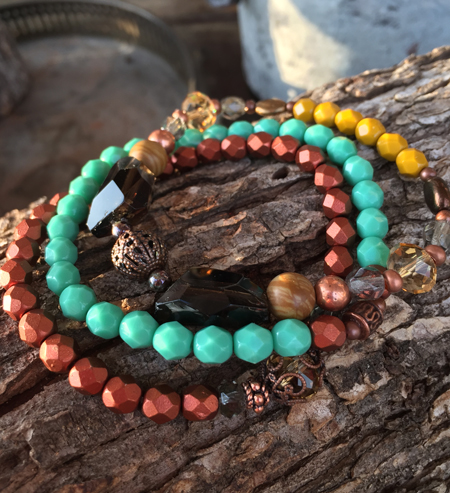 Turquoise Copper Amber Triple Stack Stretch Beaded Bracelets