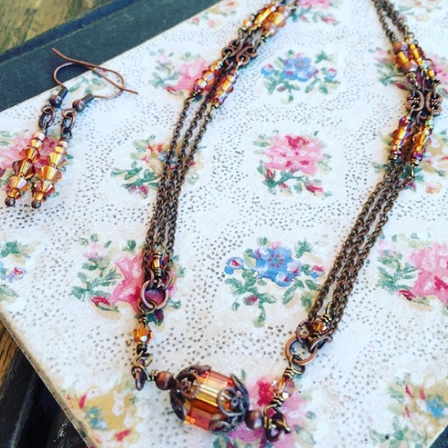 Victorian Copper Swarovski Crystal Necklace/Earrings Jewelry Set