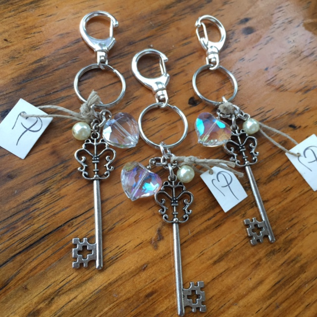 Crystal heart key charm bling