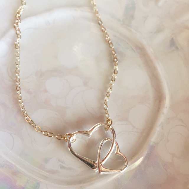 Double Link Open Heart Silver & Gold Necklace 2