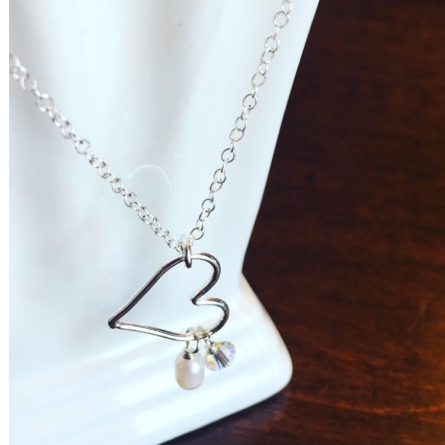 Open Heart silver necklace with charms