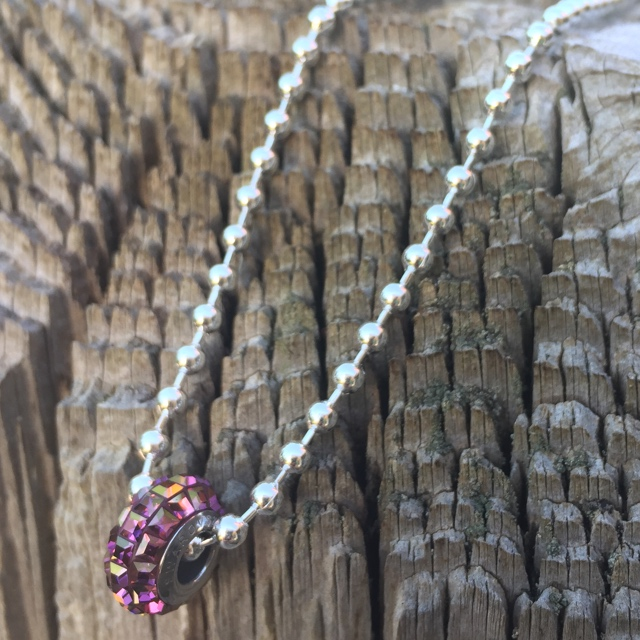 Always Shine Amethyst  Pavé - BeCharmed Swarovski Crystal Large Hole Bead Sterling Silver Ball Chain Necklace