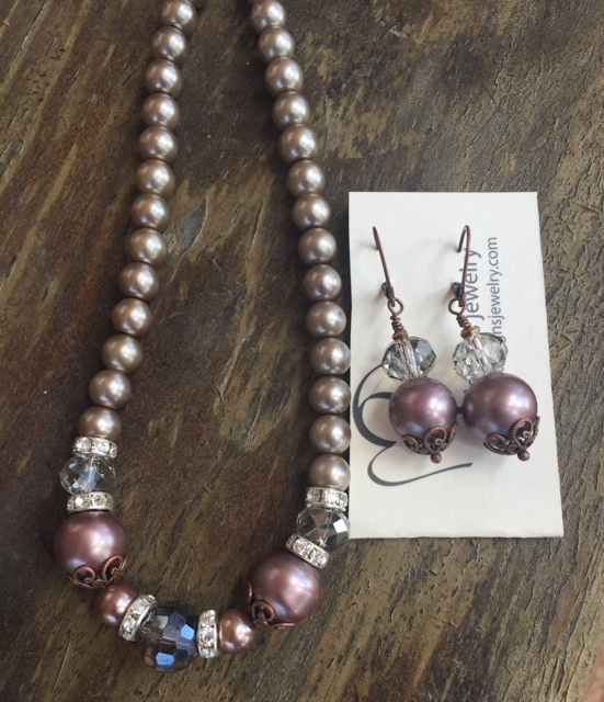 Cappuccino Copper glass Pearls Simply Jewelry Set