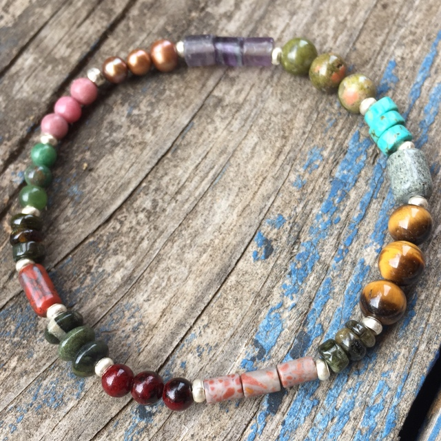 Multi-colored Gemstone Stretchy Stack Bracelet