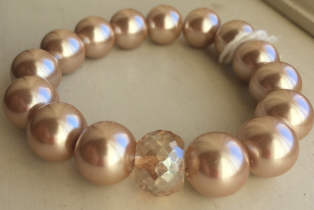 Vintage Vanilla Large Pearl Crystal Stretchy Stacking Bracelet
