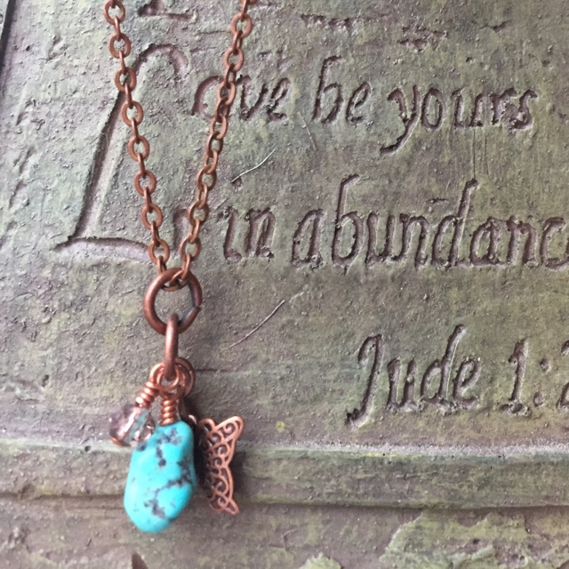 Copper Turquoise nugget butterfly crystal charm necklace
