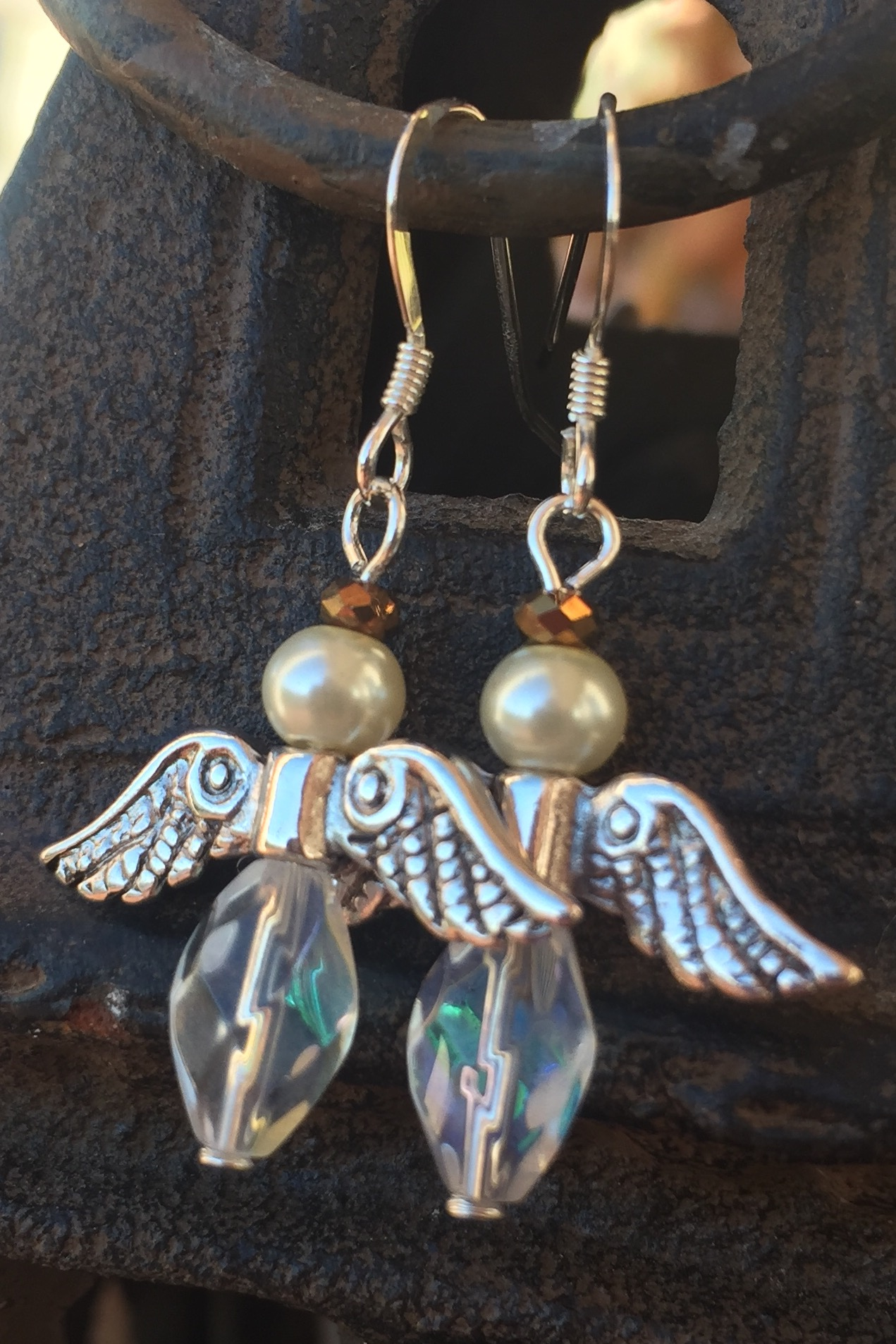 Angel crystal silver earrings