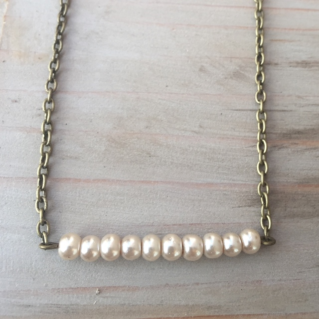 AntIqued Brass Gold Creamy White Pearl Bar Necklace