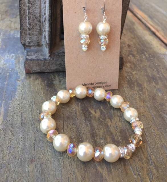 Champagne crystal pearl jewelry set