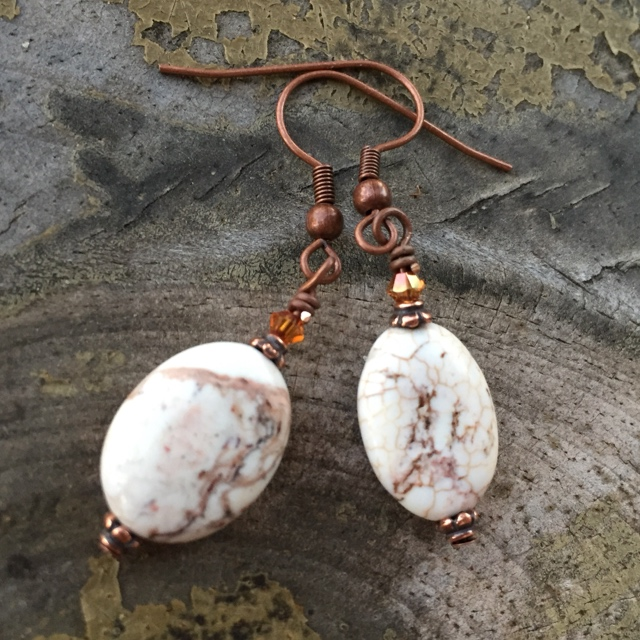 Copper Jasper Crystal Earrings
