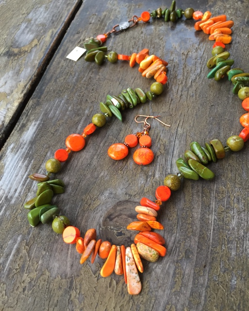 Harvest Pumpkin Turquoise Statement Jewelry Set