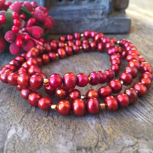 Red Cranberry Freshwater Pearl Bracelet Stack