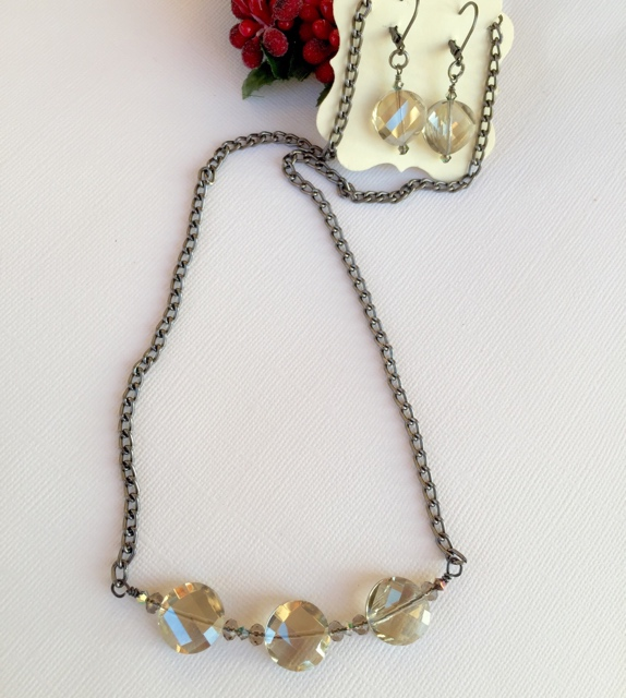 Vintage Inspired Smokey Quartz Crystal Holiday Jewelry Set