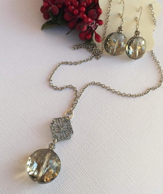 Holiday Smokey Quartz Crystal Jewelry Set Silver
