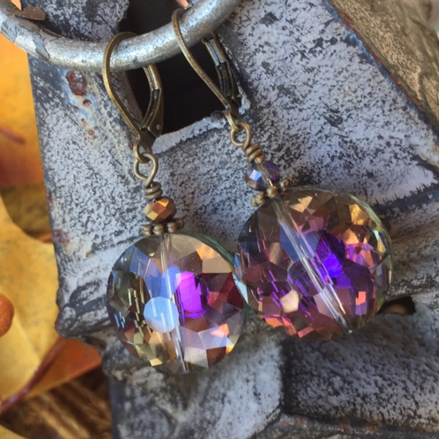 Holiday Rainbow Crystal Vintage Inspired Earrings