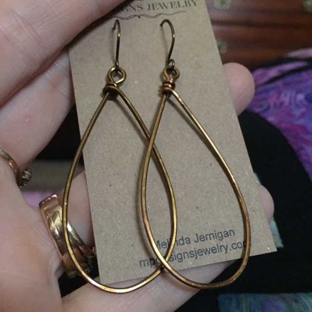 Antiqued Bronze Teardrop Artisan Hoop Earrings