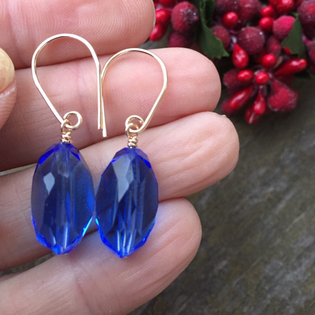 Vintage Swarovski Crystal Sapphire Holiday Earrings