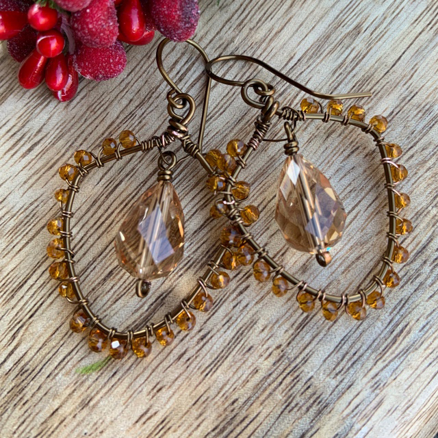 Vintage Swarovski Crystal Teadrop Geometric Wire Wrapped Crystal Earrings