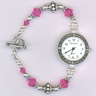 pink rose crystal ss watch