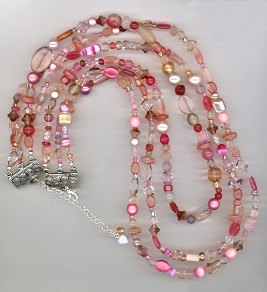 pink triple beaded necklace